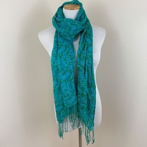 Francesca's Collections Blue Green Woven Scarf